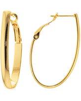 Silver Reflections 24Kt Gold Over Brass 40 X 22MM Oval High Polished Hoop Earrings, One Size , Gold