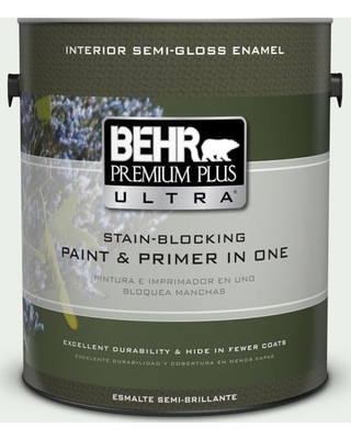 BEHR Premium Plus Ultra 1 gal. #440C-1 Cool White Semi-Gloss Enamel Interior Paint and Primer in One
