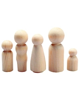 Hygloss Products Wood Peg Dolls – Craft Paintable Birchwood Doll People – Assorted Family, 40 Pieces