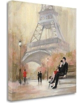 """Tangletown Fine Art 'Romantic Paris I Red Jacket' by Julia Purinton Painting Print on Wrapped Canvas WA620065-1818c Size: 25"""" H x 25"""" W"""