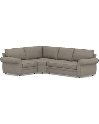 Pearce Roll Arm Upholstered Right Arm 3-Piece Wedge Sectional, Down Blend Wrapped Cushions, Performance Chateau Basketweave Light Gray