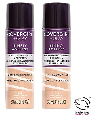 COVERGIRL COVERGIRL outlast all-day ultimate finish 3-in-1 powder foundation, classic ivory, pack of 2, 0.4 Ounce