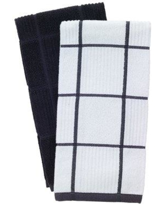 T-fal 2 Piece Solid and Check Parquet Kitchen Dishcloth Set 609 Color: Charcoal