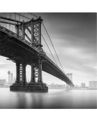 'Manhattan Bridge I' by Moises Levy Ready to Hang Canvas Wall Art, Adult Unisex, Gray