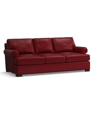 """Townsend Roll Arm Leather Sofa 85"""", Polyester Wrapped Cushions, Leather Signature Berry Red"""