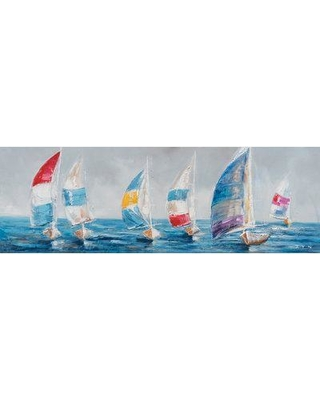 Highland Dunes Colorful Sailboats I' Oil Painting Print on Wrapped Canvas HIDN5502
