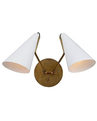 Clemente Double Wall Sconce by Visual Comfort - Color: Black - Finish: Black and Hand-Rubbed Antique Brass - (ARN 2059HAB-BLK)