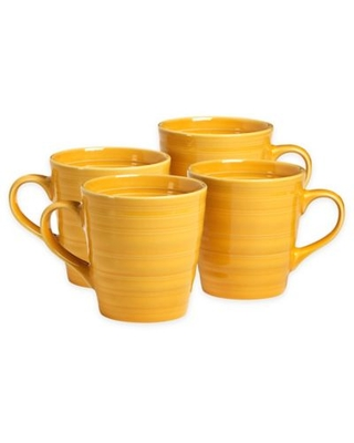 Over and Back® Centric Coffee Mugs in Yellow (Set of 4)