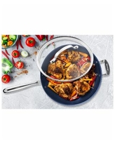 """Granite Stone Diamond 14"""" Mineral and Diamond Infused Skillet with Lid - Classic Blue"""
