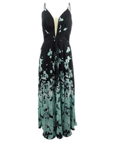 Betsy & Adam Women's Placed-Floral Chiffon Maxi Gown (4, Black/Teal)
