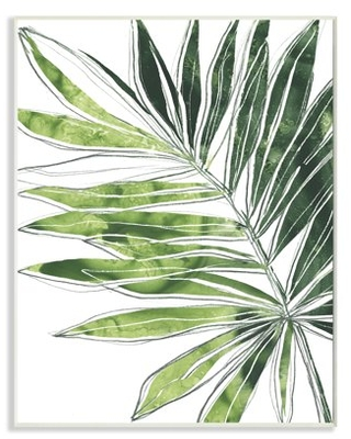Stupell Industries Tropical Green Plant Expressive Palm Linework Wood Wall Art, 13 x 19, Design by June Erica Vess