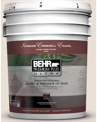 BEHR Premium Plus Ultra 5 gal. #N190-1 Smokey Cream Eggshell Enamel Interior Paint and Primer in One