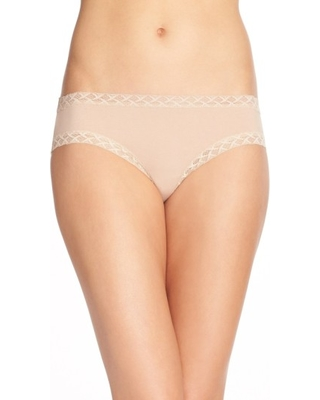 Women's Natori Bliss Cotton Girl Briefs, Size Medium - Beige