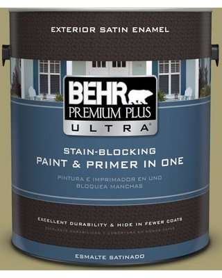 BEHR Premium Plus Ultra 1 gal. #PPU9-04 Fresh Olive Satin Enamel Exterior Paint and Primer in One