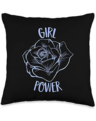 Girl Power Flower Gifts Girl Power Flower Woman Feminists Movement Quote Throw Pillow, 16x16, Multicolor