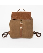 Brown XtitiX Chambray Rucksack Travel Business School Tech Backpack