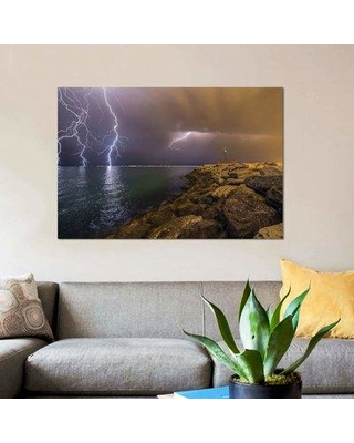"""East Urban Home 'When Lightning Strikes' Photographic Print on Canvas EBHU5978 Size: 18"""" H x 26"""" W x 1.5"""" D"""