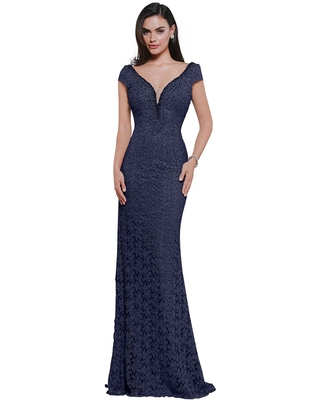 Rina Di Montella - RD2656 Lace Cap Sleeve Deep V-neck Fitted Dress