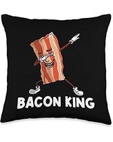 Best Bacon Eater Breakfast Brunch Picnic Clothes Funny Gift for Men Dad Bacon Strips Foodie Lovers Throw Pillow, 16x16, Multicolor