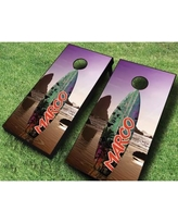 AJJCornhole Surfboard Sunset Cornhole Set 107-Surfboard Sunset with red/ bags Bag Color: Red/Navy