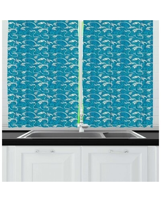 Sea Continuous Foamy Lines Style Drawing Kitchen Curtain East Urban Home