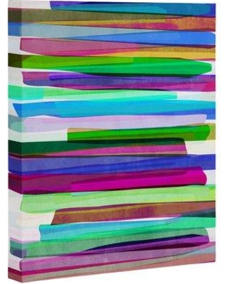 """East Urban Home 'Colorful Stripes' Graphic Art Print on Canvas EBHT1433 Size: 20"""" H x 16"""" W x 1.5"""" D"""