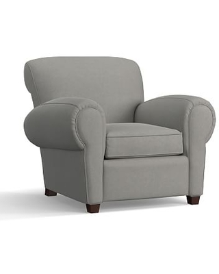 Manhattan Upholstered Armchair, Polyester Wrapped Cushions, Performance Everydaysuede(TM) Metal Gray
