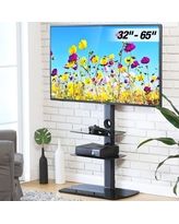 FITUEYES Floor TV Stand with Wires/Cable Management for 32-65 inch LCD LED OLED Screens Up Load to 110 LBS with Swivel TV Mount, TT306501GB