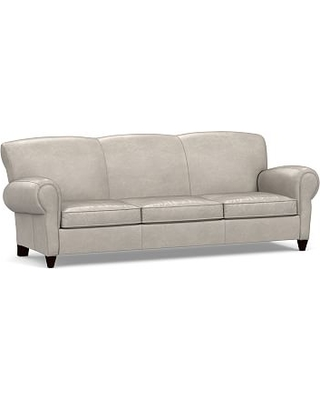 """Manhattan Leather Grand Sofa 96"""", Polyester Wrapped Cushions, Leather Statesville Pebble"""