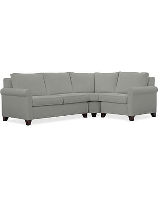 Cameron Roll Arm Upholstered Left Arm 3-Piece Wedge Sectional, Polyester Wrapped Cushions, Performance Everydaysuede(TM) Metal Gray