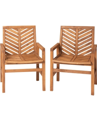 Walker Edison Furniture Company Brown Acacia Wood Outdoor Patio Lounge Chair 2 Pack