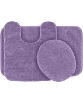 Garland 3 Piece Traditional Washable Nylon Bath Rug Set - Purple