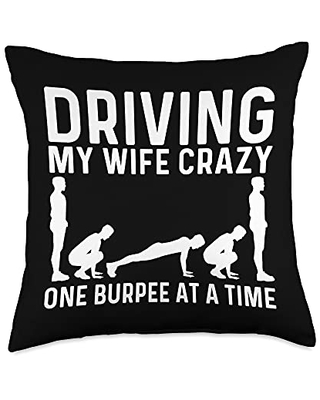 Best Burpees Cardio Aerobic Squat Training Designs Cool Burpee Gift For Men Women Fitness Workout Gym Exercise Throw Pillow, 18x18, Multicolor