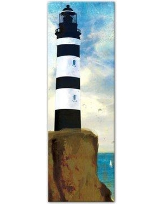 "Breakwater Bay 'Black and White Lighthouse' Graphic Art Print on Canvas BKWT3873 Size: 36"" H x 12"" W Format: Wrapped Canvas"