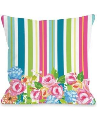 "Ebern Designs Pettengill Colorful Flower Stripes Throw Pillow BF024234 Size: 18"" x 18"""