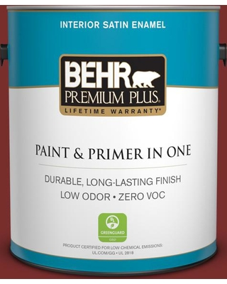 BEHR Premium Plus 1 gal. #PPU2-02 Red Pepper Satin Enamel Low Odor Interior Paint and Primer in One