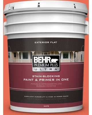 BEHR ULTRA 5 gal. #190B-6 Wet Coral Flat Exterior Paint and Primer in One