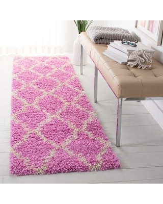 """Safavieh Dallas Shag Hacer 1-inch Thick Rug (2'3"""" x 8' Runner - Pink/Ivory)"""
