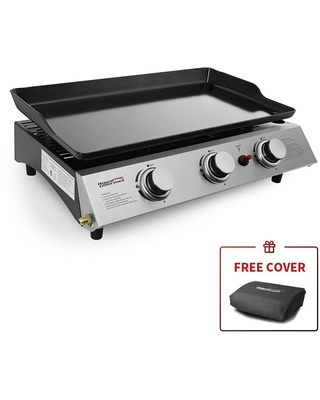 Royal Gourmet Portable 3-Burner Built-in Propane Gas Grill in Stainless Steel, Black