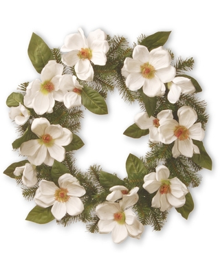 """Artificial North Valley Spruce Magnolia Wreath White 24"""" - National Tree Company"""
