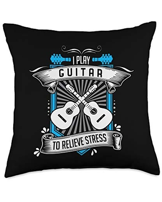 Funny Guitar Quote Shirts Funny Guitarist Quote - I Play Guitar To Relieve Stress Throw Pillow, 18x18, Multicolor