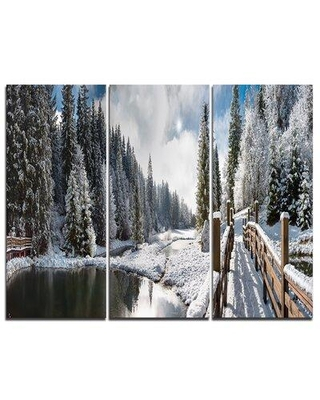"""Design Art Winter Morning Panorama - 3 Piece Graphic Art on Wrapped Canvas Set, Canvas & Fabric in Brown/Gray, Size Medium 25""""-32""""   Wayfair"""