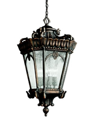 """Tournai 33.5"""" 4 Light Outdoor Pendant Light with Clear Seeded Glass in Londonderry"""