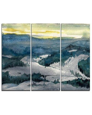 Design Art Dark Mountains Watercolor - 3 Piece Painting Print on Wrapped Canvas Set PT8568-3P