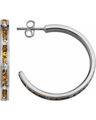 Traditions Sterling Silver Yellow and White Swarovski Crystal Hoop Earrings, Women's