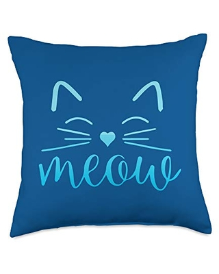 Cute Cat Funny Shop Meow Cute Face Funny Quote for Cat Fans Throw Pillow, 18x18, Multicolor