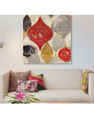 """East Urban Home 'Red Motif I' Graphic Art Print on Canvas ETRB2719 Size: 37"""" H x 37"""" W x 1.5"""" D"""
