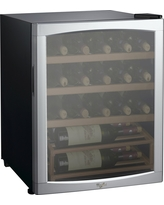 Whirlpool 25 Bottle 2.7 Cu. Ft Wine Fridge-Stainless Steel-JC-75Z, Black