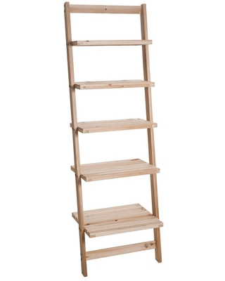 Lavish Home 51.32 in. Natural Wood 5-shelf Ladder Bookcase with Unfinished Wood