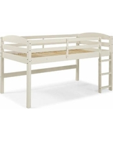 Solid Wood Low Loft Twin Bed in White - Walker Edison BWSTOLLWH